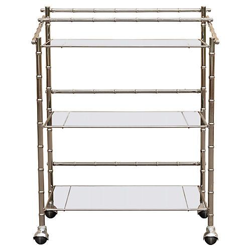 Faux Bamboo Chrome & Glass Bar Cart