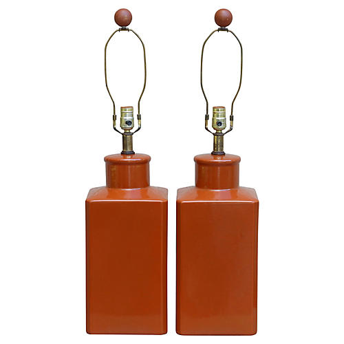 Ceramic Table Lamps, a Pair