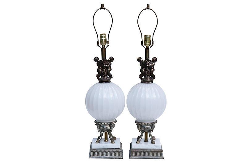 Art Nouveau Table Lamps, Pair
