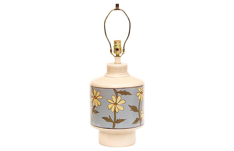 Mid Century Floral Ceramic Lamp