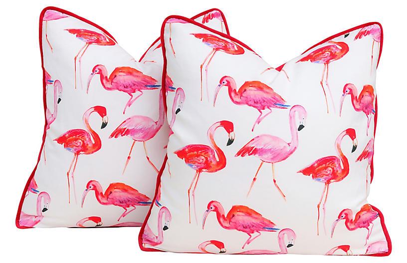 Kravet Flamingo Pillows, Pair