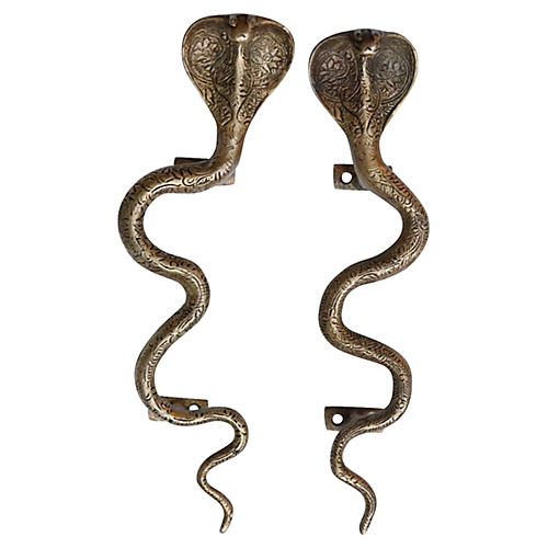 Brass Cobra Door Handles, Pair