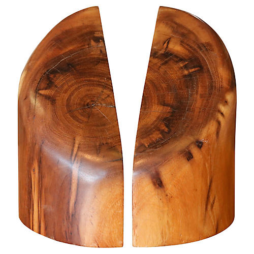 Sculptural Wood Block Bookends, Pair