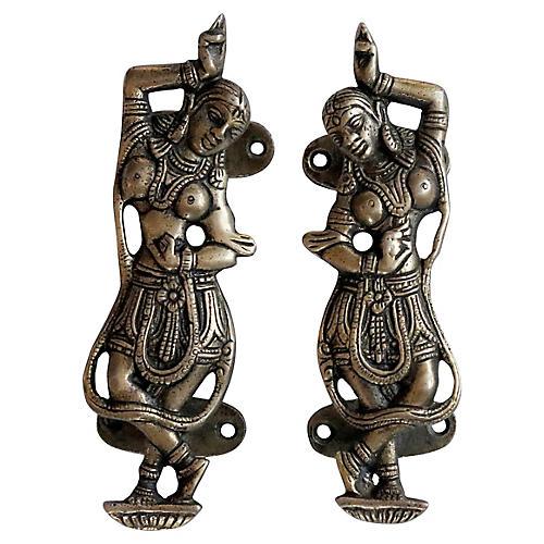 Indian Dancer Brass Door Handles, Pair
