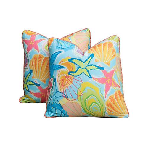 Spanish Seaside Pillows, Pair