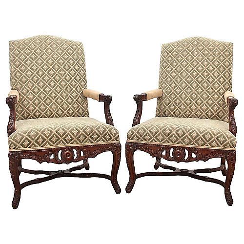 Italian-Style Armchairs, Pair