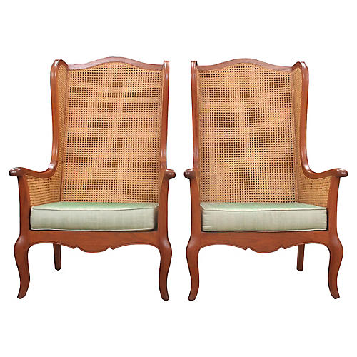 Double-Caned Wingback Chairs, Pair