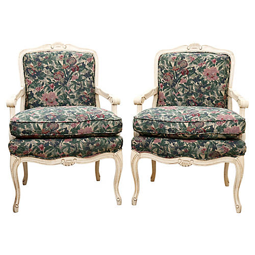 Sam Moore French-Style Armchairs, Pair