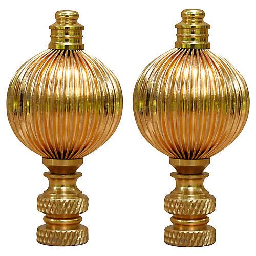 Ribbed Ball Brass Lamp Finials, Pair