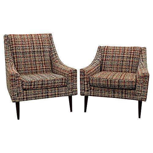 Midcentury Kroehler Lounge Chairs, Pair