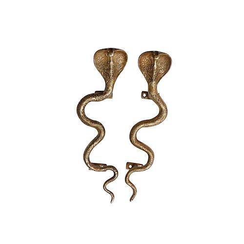 Large Brass Cobra Door Handles, a Pair