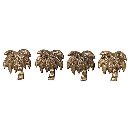 S/4 Brass Palm Tree Napkin Rings