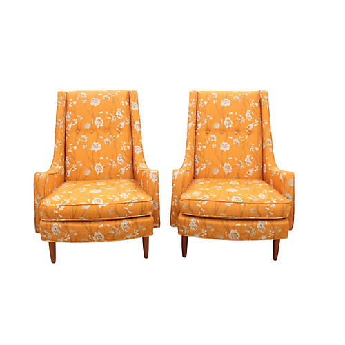 Mid Century Wingback Chairs - a Pair