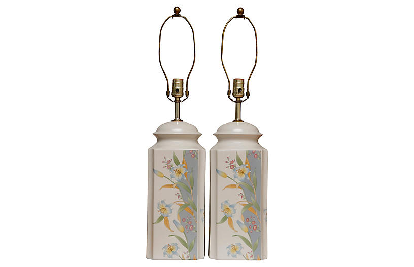 Murray Feiss Ceramic Table Lamps, a Pair