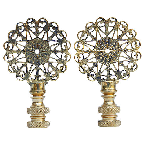 Lacy Brass Lamp Finials, Pair