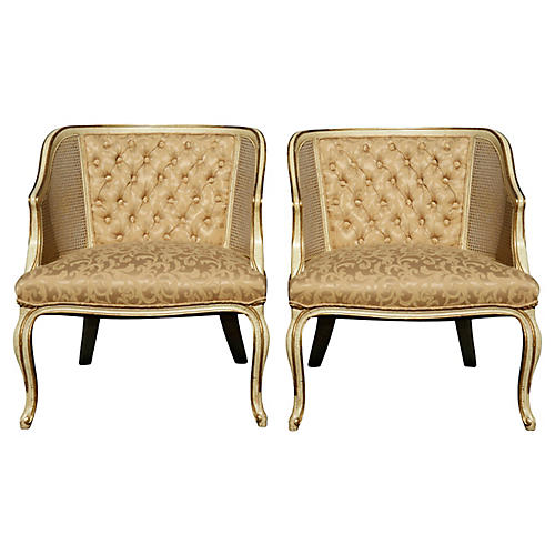 Caned & Tufted Club Chairs - a Pair