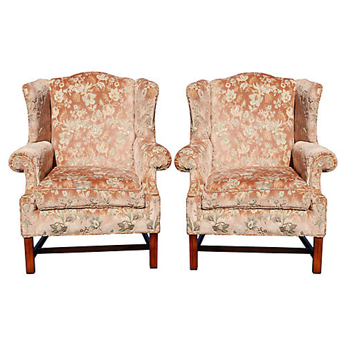 Floral Wingback Chairs in Blush, Pair