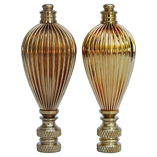 S/2 Ribbed Brass Lamp Finials