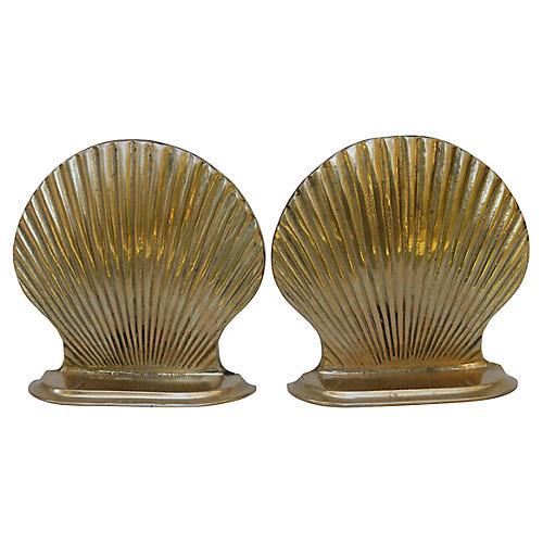 Brass Scallop Shell Bookends, Pair