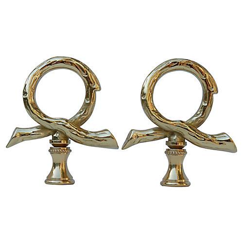 Brass Loop Lamp Finials - a Pair