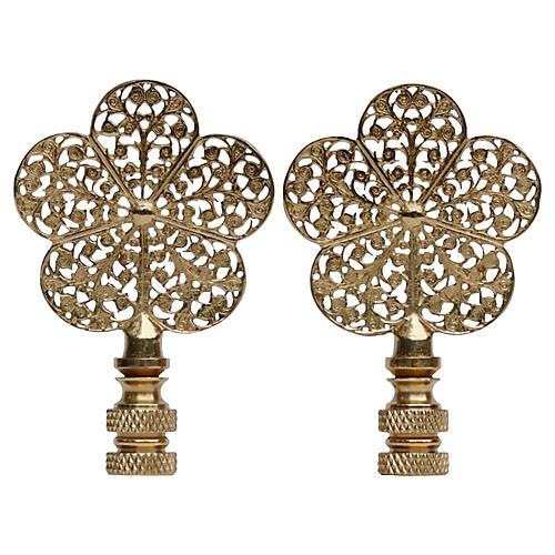 Brass Flower Filigree Finials - a Pair