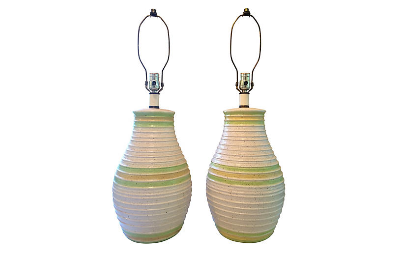 S/2 Mid Century Ceramic Table Lamps