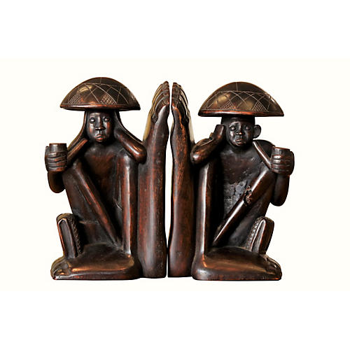 Traditional Carved Figural Bookends