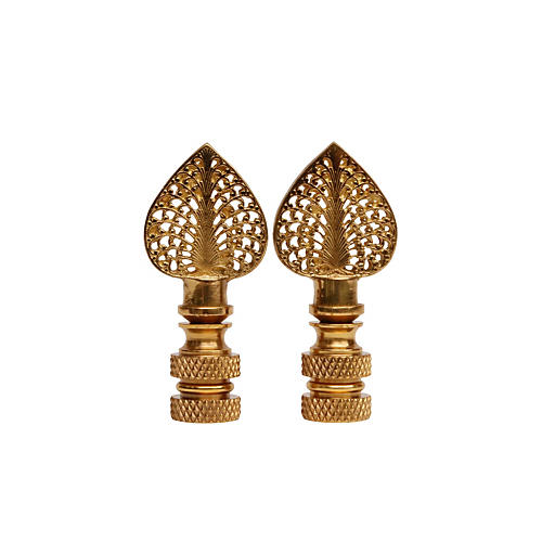 S/2 Brass Filigree Lamp Finials