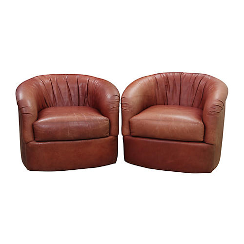 Leather Swivel Club Chairs - a Pair