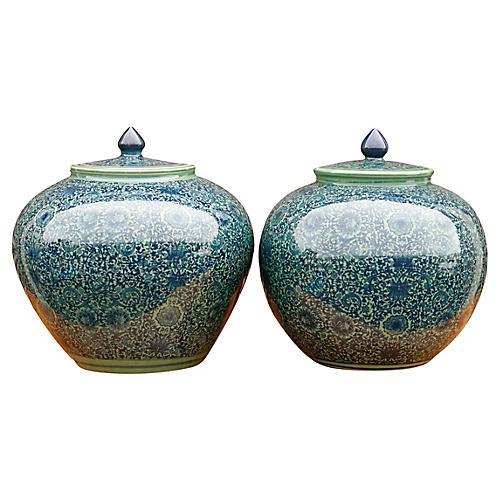 Blue Floral Ceramic Ginger Jars - a Pair