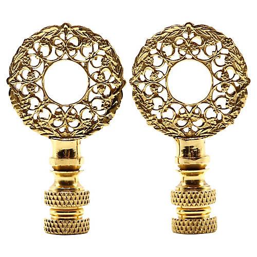 Brass Wreath Lamp Finials - a Pair