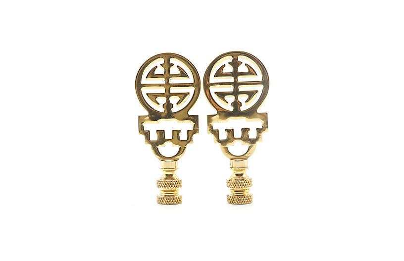 Chinoiserie Brass Lamp Finials - a Pair