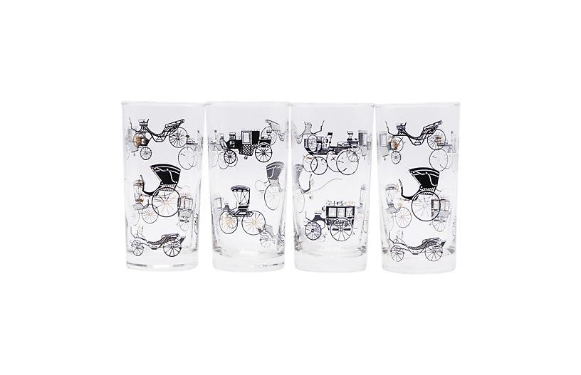Mid Century Glass Tumblers - Set of 4