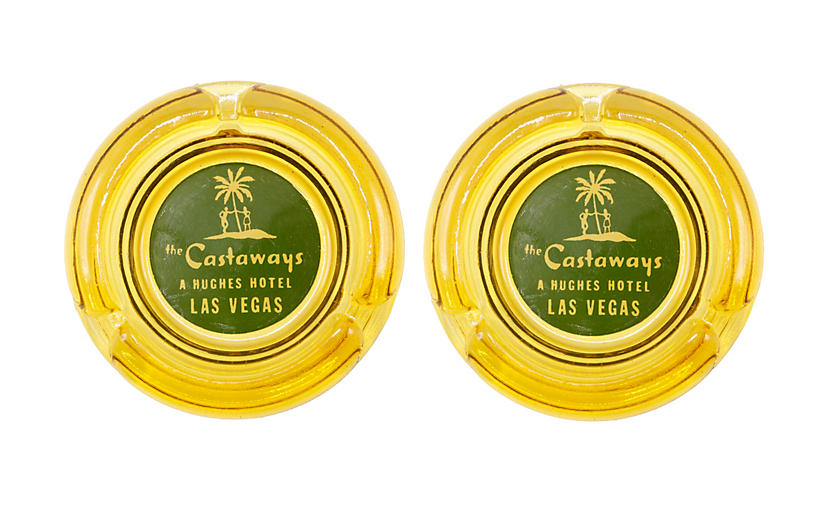 The Castaways Hotel Yellow Glass Ashtray
