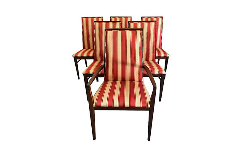 Striped Mahogany Dining Chairs, Se of 6