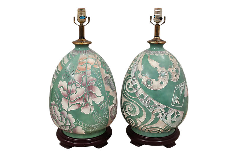 Ming Style Ceramic Table Lamps - a Pair