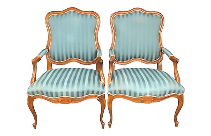 Ethan Allen Blue Armchairs - a Pair