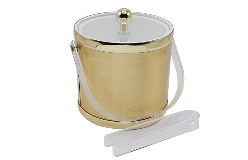 Mid Century Gold & Lucite Ice Bucket