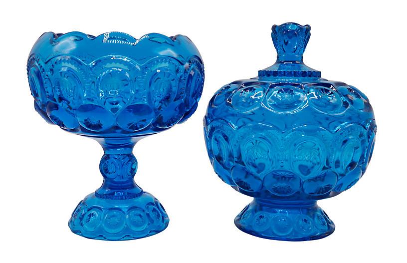 L. E. Smith Glass Candy Dish & Bowl