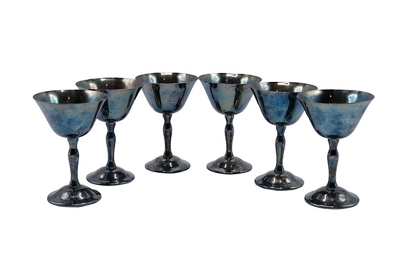 Silver Plated Wine Goblets - Set of 6