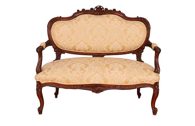 Antique Hand Carved Rococo Settee