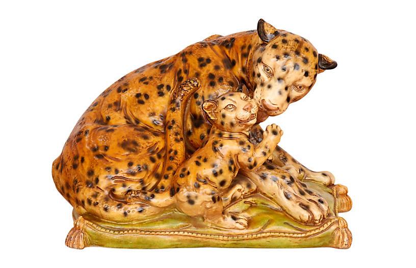 Large Leopard & Cub Sculpture