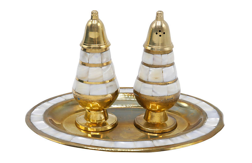 Brass & Abalone Salt & Pepper Shaker Set