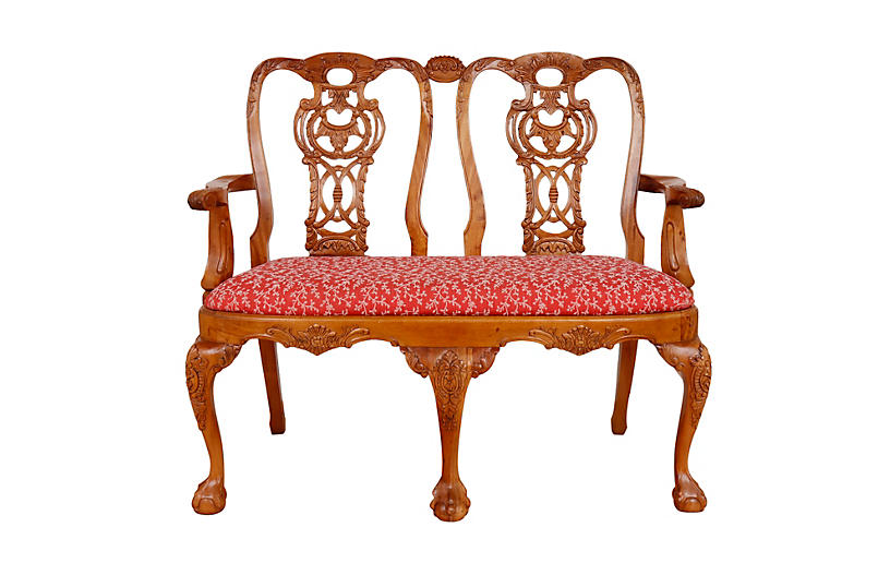 Queen Anne Style Two Seat Settee