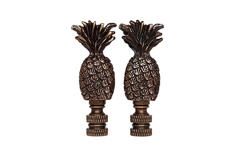 Brass Pineapple Lamp Finials - a Pair