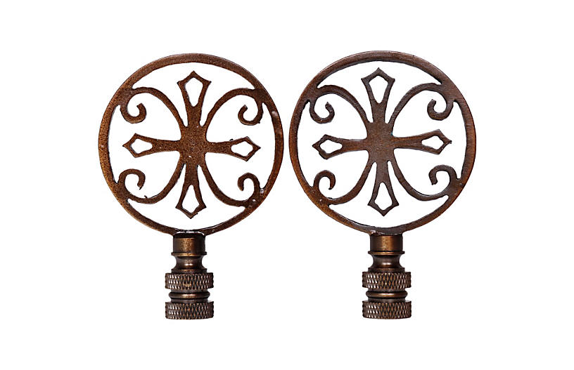 Antiqued Brass Lamp Finials - a Pair