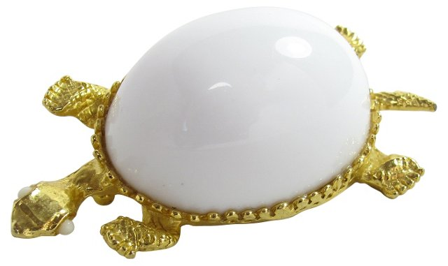Lucite Domed Turtle Brooch