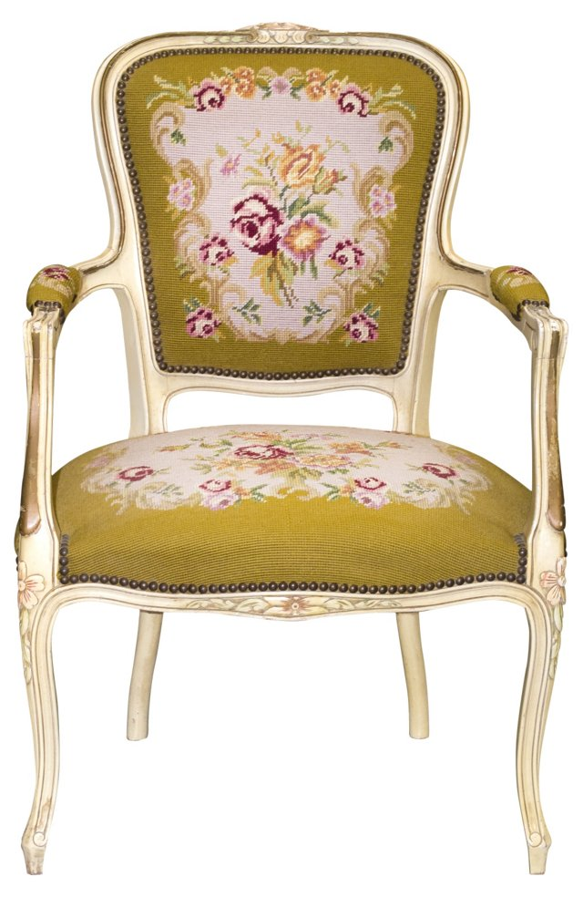 Armchair w/ Needlepoint Upholstery