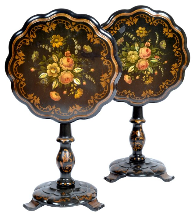 19th-C. Hand-Painted  Tables, Pair