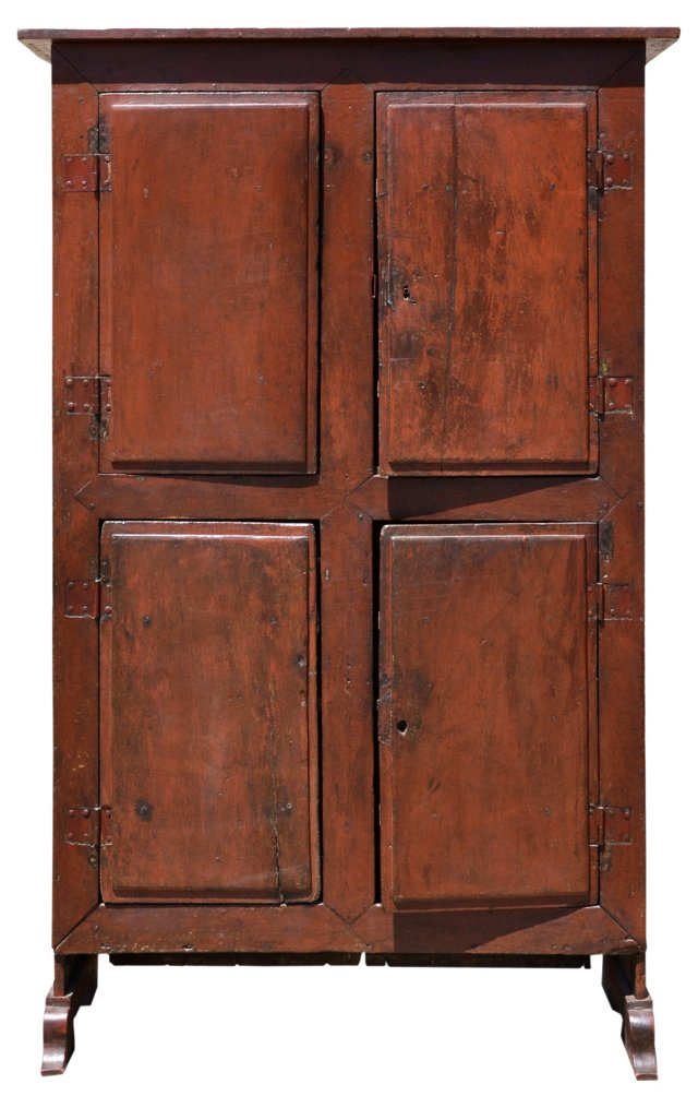 19th-C. Spanish 4-Door Painted Cabinet